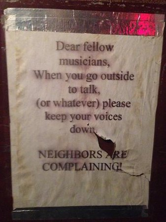 The Village Vanguard: Taped to the rear exit door