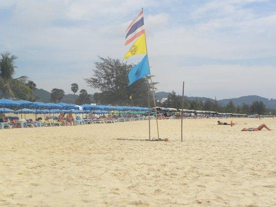 Phi Phi Islands: Bandera de Thailand en la playa.