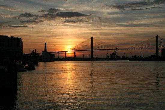 River Street Savannah: Setting Sun over the Savannah River