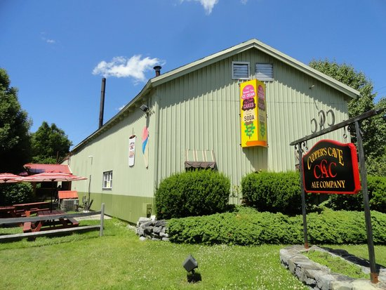 Cooper's Cave Ale Company: The left side has the ice cream window and patio, faces the hiking trail.