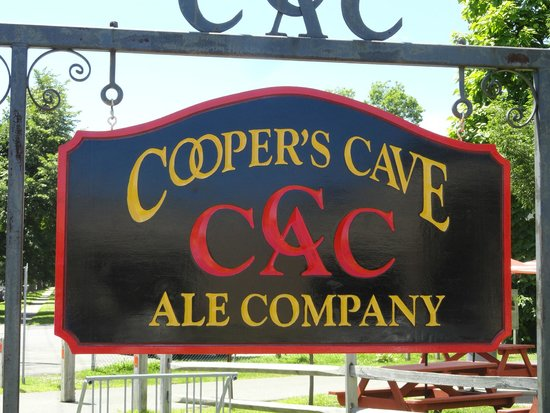 Cooper's Cave Ale Company: The sign out front.
