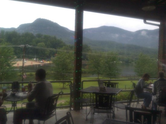 La Strada at Lake Lure: View from inside of La Strada overlooking porch and lake.