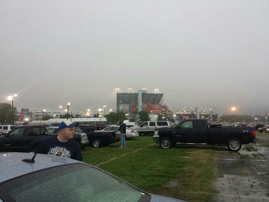 Richmond International Raceway: parking lot/ fog