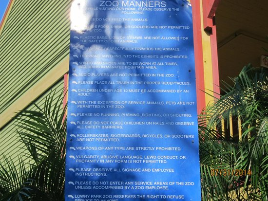 Tampa's Lowry Park Zoo : zoo rules