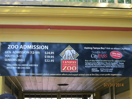 Tampa's Lowry Park Zoo : entry prices