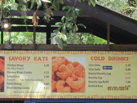 Tampa's Lowry Park Zoo: food menu
