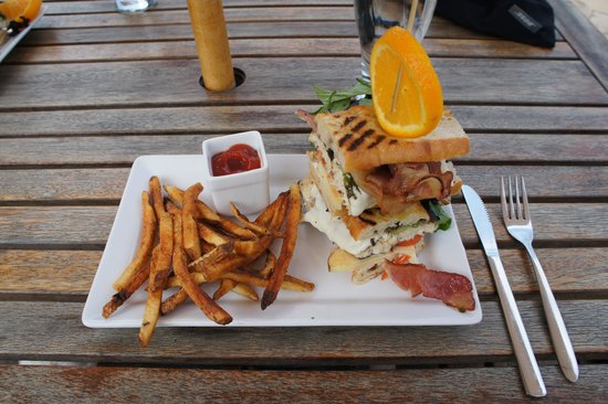 Pan Dolce: Rainbow Trout Panini. A bit heavy but nice presentation.