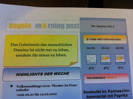 angelo by Vienna House Munich Leuchtenbergring: Каждое утро новая умная мысль