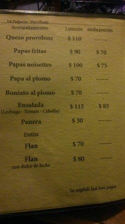 La Pulperia: Preços dos acompanhamentos (em pesos uruguaios)