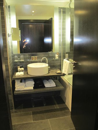 Renaissance Paris Arc de Triomphe Hotel: Nice shower/tub but small sink area with little shelf space