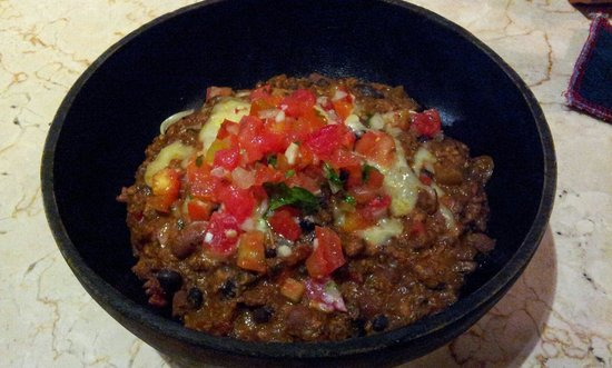 Kafe: Chicken chili with cheddar cheese, black beans, red rice,