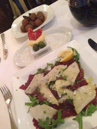Brunello at 27 on Fourth: Carpaccio and meatballs - fantastic!