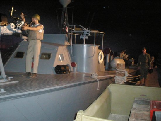 National Museum of the Pacific War : PT Boat set at a dock. Real PT Boat with realistic setting and artifacts