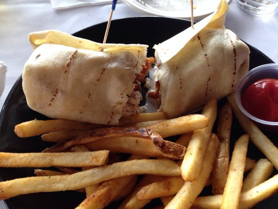 Boondocks Brewing : BBQ shrimp wrap with fries.A work of art