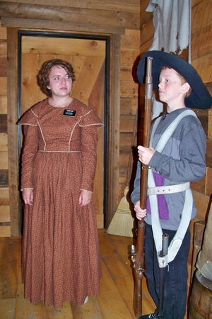 Mormon Battalion Historic Site: One of the boys in our tour group dressed in a period hat and weapon.