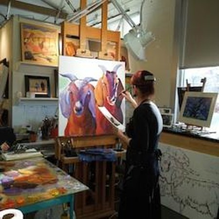 Studios on the Park: Anne Laddon painting in her studio, March 3, 2012