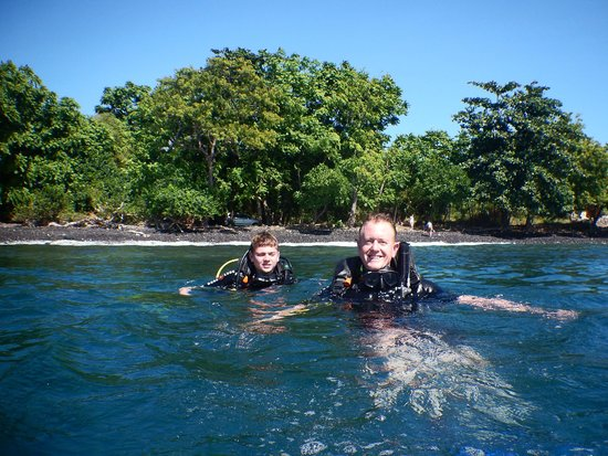 Adventure Scuba Diving Bali: My son and I about to dive Tulamben, Bali