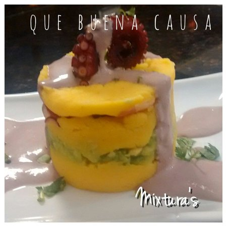 Mixtura's Peruvian Restaurant: Octopus in olive sauce CAUSA, you need taste it...is amazing.