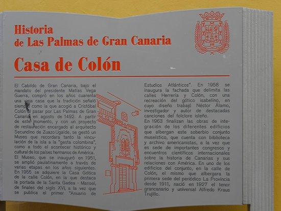 Casa de Colón: Табличка