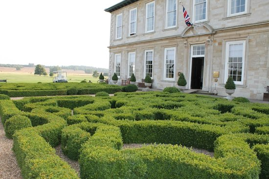 Stapleford Park: front facade and knot garden