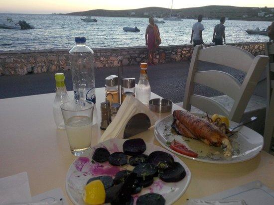 Coralli: Beets and bbq stuffed calamari with cheese