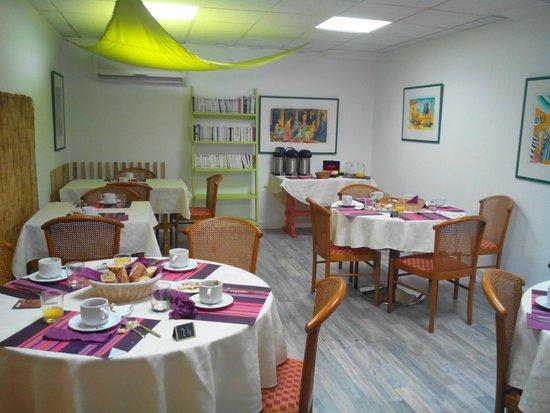 Residence Mer & Golf Eugénie : la salle du petit déjeuner du 4 étoiles très glamour...