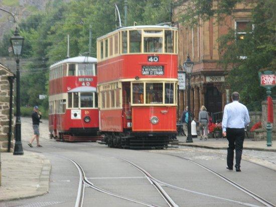 Crich Tramway Village: tram stop maine street