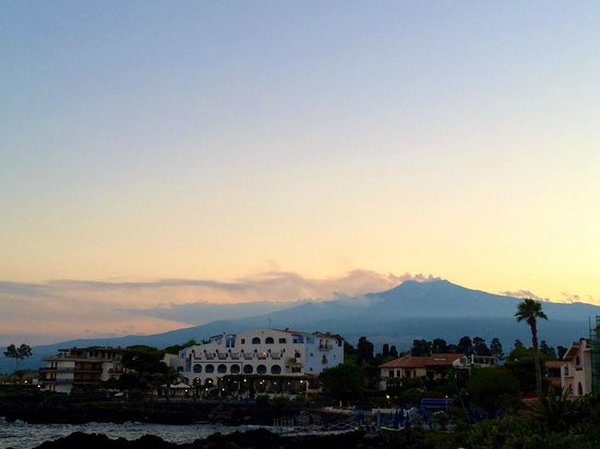 Hotel Orpheus: View from our roof top terrace. Beautiful Mount Etna!