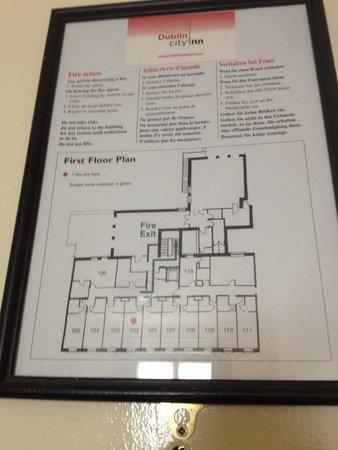 Dublin Central Inn: Planimetria primo piano con camere