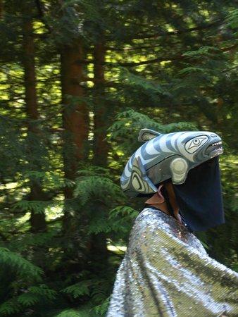 Klahowya Village in Stanley Park : A performer dressed as a Salmon