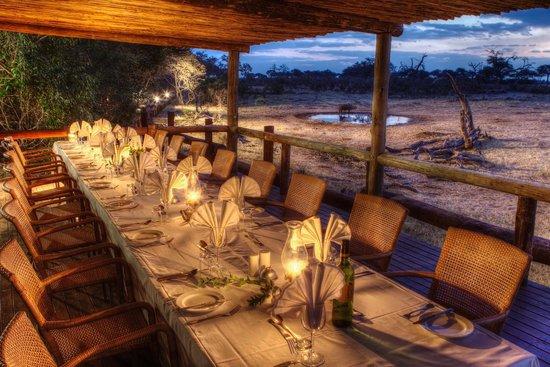 Preparing for dinner on the deck at Savute Safari Lodge