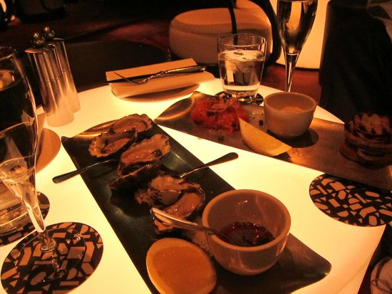Smoked trout and oysters, with champagne, Cafe Sydney