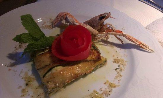 Hotel Somont: Lasagnetta di gambero e zucchine
