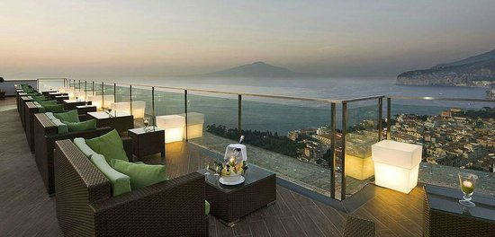 Grand Hotel President: This is the view from the bar at the top of the hotel - that's Mount Vesuvius in the distance :)