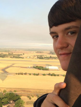 Balloons Above the Valley: Love this shot of my son in our balloon