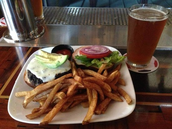 Kuma's Corner: Iron Maiden burger with a glass of Trooper Ale!