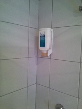 Salamanca Terraces: Nasty Plastic wash dispenser in shower