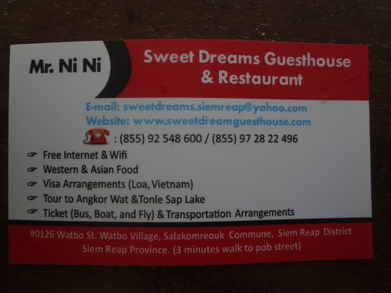 Sweet Dreams Guesthouse: Business Card - Front
