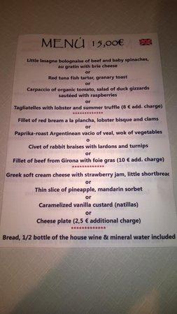 Cafe de la Riba: lunchtime menu