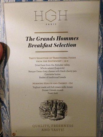 Hotel des Grands Hommes : Menu de café da manhã do hotel