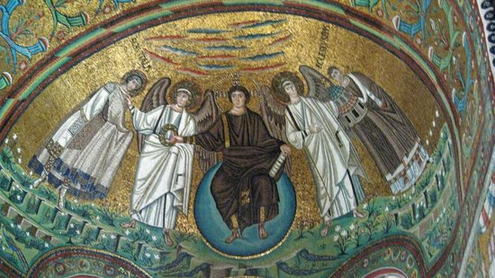 Basilica San Vitale: Christ with angels and San Vitale and Bishop Ecclesius