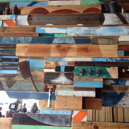Cool wall art with reclaimed wood at Waypoint Public - Cool Wall Art With Reclaimed Wood At Waypoint Public - Picture Of