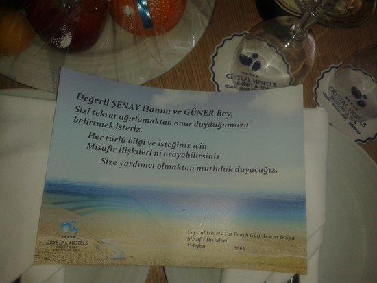 Crystal Tat Beach Golf Resort & Spa: crystal in güzel jesti