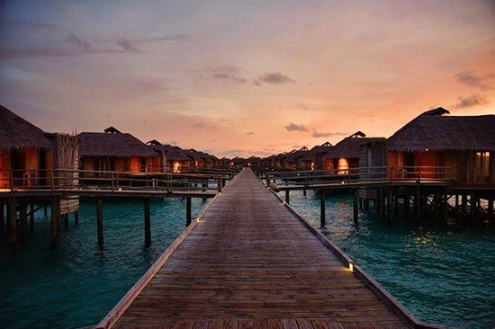 Six Senses Laamu: Looking back at the Villas from the end of Jetty A