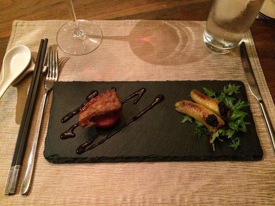 Majestic Restaurant: Crispy prawn with salted egg yolk, sliced peking duck and foie gras