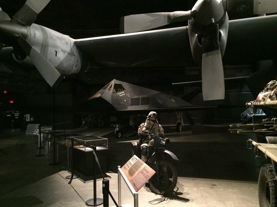 National Museum of the U.S. Air Force: Stealth fighter next to the space shuttle trainer