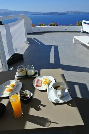 Breakfast on our patio