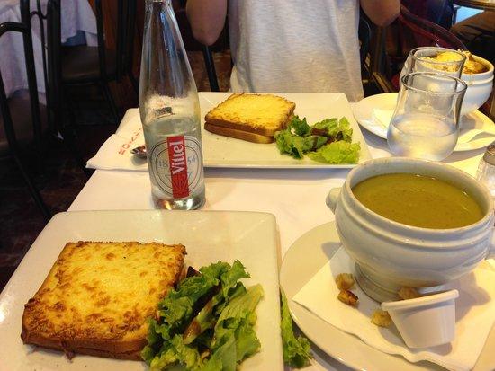 Royal Opera Restaurant: クロックムッシュとスープ