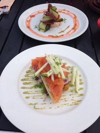 Blond lunch & diner: voorgerecht gamba voorgerecht zalm heerlijk!