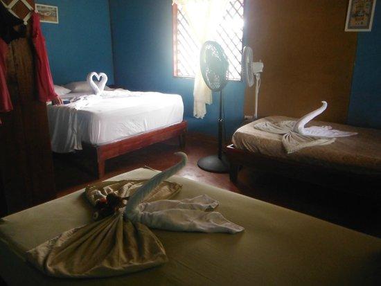 Cabinas El Icaco Tortuguero: Chambre pour 4. Quelle présentation !